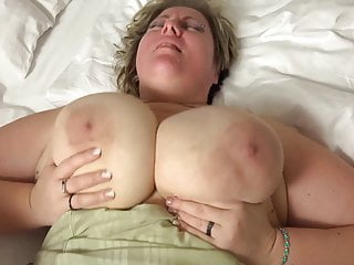 big blonde with huge tits fucked in bed