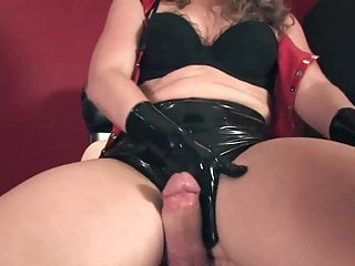 dominant handjob intercrural sex and assjob in pvc