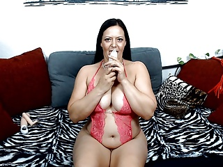 ICE DILDO IN MY MILF PUSSY! ORGASM in Pain of ice! Tits MILF