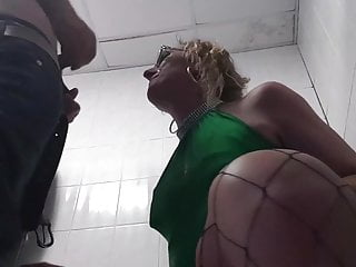 Cum Shot on Blonde Lisas Face in the Public Toilets