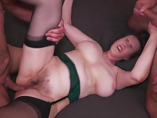 Hairy mature mom fucked by 3 boys in all holes