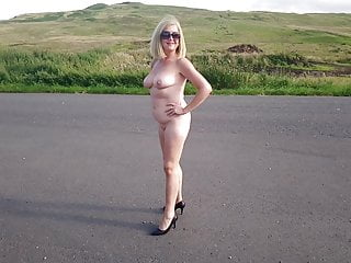 Naked on public road