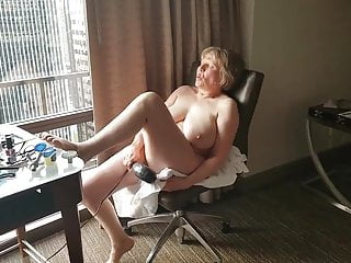 Mature hotel window exhibitionist cumming so hard