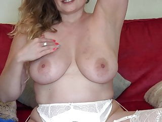 Amazing busty mom feeding her wet cunt