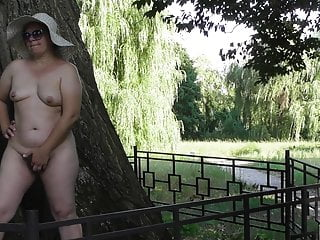 Hairy mature nude in public park