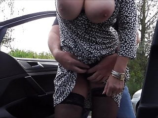 horny granny with big tits on the road