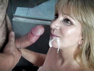 Mom Gets A Huge Thick Facial And Mouthful Of Cum from Young