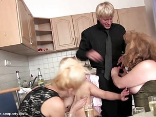 Boy fucks granny and her friends