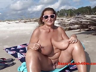 Huge saggy tits on the beach