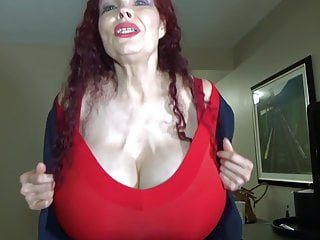Redhead granny with huge tits