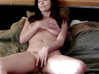 Fingering on the bed to orgasm