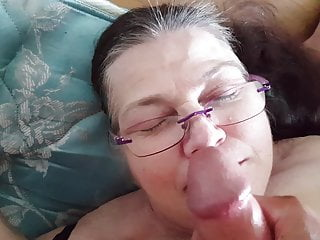 Massive cumshot all over my bbw Landlord's glasses.