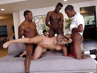 Hot tattooed slut cuckolds husband with 3 BBCs