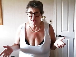 Sue 65 yo teases with her saggy tits