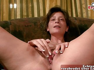 German hairy housewife masturbates at casting