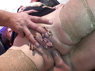 Pierced housewife enjoys DP by two big cocks