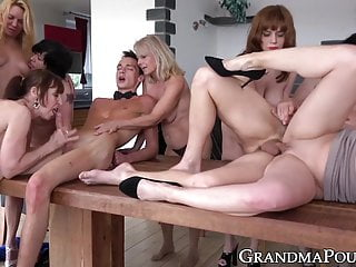 Gorgeous mature ladies hammered in nasty orgy by young studs