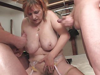 Two hairy matures get gangbanged, hot asses