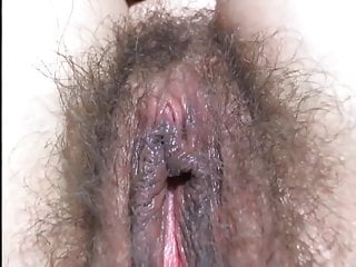 Girl Plays With Hairy Pussy Close Up