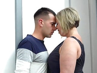 Busty MOM licks ass and fucks lucky young stud