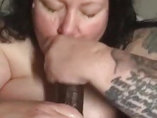 Divorced BBW finds Young Hung Black Boy for Blowjob Facial